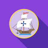 Ship with flag of Columbus icon, flat style. Ship with flag of Columbus icon in flat style with long shadow. Maritime transport symbol vector illustration Stock Images