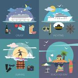 Ship Flat Set Royalty Free Stock Photography