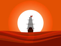 The ship floating away into the sunset. Sailing medieval ship rear view. Columbus Day. stock illustration