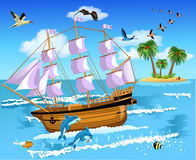 Ship floating on the sea. Vector illustration of a ship floating on the sea and an island in the background Stock Photo