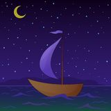 Ship floats at night. Ship floats under sails in the sea in the moonlight night Stock Photos