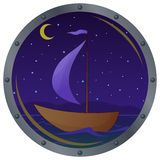 Ship floats at night. Window porthole with the ship floating on the sea in the moonlight night Royalty Free Stock Images