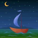 Ship Floats in Night Sea Stock Photo