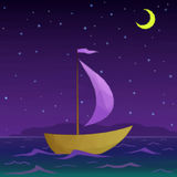 Ship Floats in Night Sea Royalty Free Stock Image