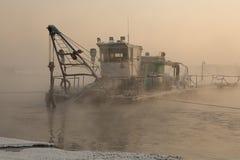 Ship in the fog Stock Photos