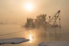 Ship in the fog Stock Image
