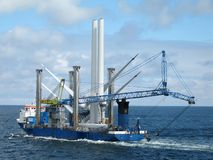 Ship For Wind Turbine Installation Stock Photo