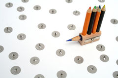 Ship in the form of a unusual sharpener with small color pencils. 2 Royalty Free Stock Photo