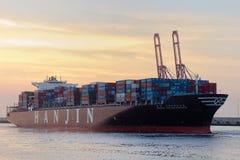 ship för behållaregdansk poland port Arkivfoto