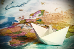 Free Ship From A Paper On The Geographical Stock Photos - 40565773
