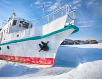Ship in frozen baikal Royalty Free Stock Photo