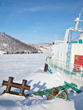Ship in frozen baikal Royalty Free Stock Photos