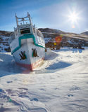 Ship in frozen baikal Royalty Free Stock Images