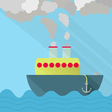 Ship fuming vector illustration