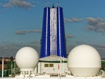 Ship Funnel and radar domes Royalty Free Stock Images