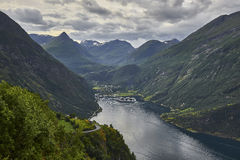 Ship in the Geiranger fjord, listed as a UNESCO World Heritage Site Royalty Free Stock Image