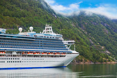 Ship in Geiranger fjord - Norway Stock Photo
