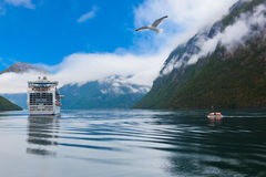 Ship in Geiranger fjord - Norway Royalty Free Stock Image