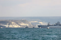 The ship General Ryabikov and other ships in Sevastopol city (Crimea) Stock Images