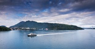 Ship getting to Bergen. Norway royalty free stock photo