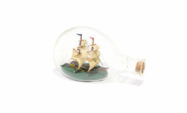 Ship in a glass bottle Royalty Free Stock Photo
