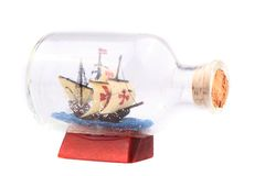 Ship in the glass isolated Royalty Free Stock Photography