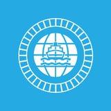 Ship and globe logo design. Vector ship and globe logo design Stock Photos