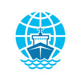 Ship & Globe Logo Sign. Ship & globe logo vector sign vector sign for commercial company, agency, for the development of design materials Royalty Free Stock Photo