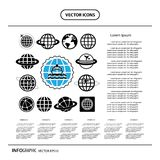 Ship and globe vector icon set. Vector ship and globe vector icon set Royalty Free Stock Image