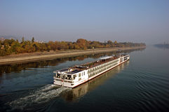 Ship goes on the river Danube Royalty Free Stock Photos