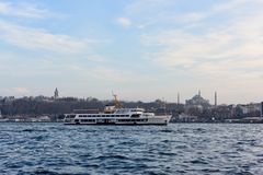 Ship going on istanbul bosphorus royalty free stock photo