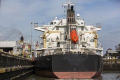 Ship going through Locks at Panama Canal Stock Photos