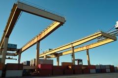 Ship granary ma cranes in port. Royalty Free Stock Photo