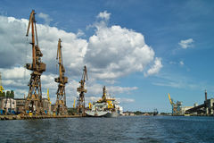 Ship granary ma cranes in port. stock images