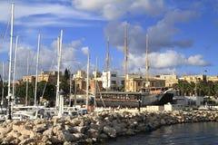 Ship in the Grand Harbour, Valletta in Malta Stock Image
