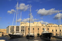 Ship in the Grand Harbour of Valletta, Malta Stock Images
