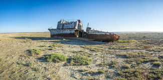 The ship graveyard of the Aral Sea. Stock Photography