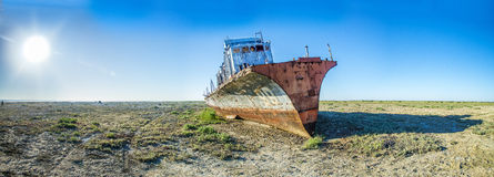 The ship graveyard of the Aral Sea. Royalty Free Stock Image