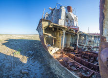 The ship graveyard of the Aral Sea. Stock Photos
