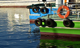 Ship of green and the blue. Of the port of the day when it was fine Royalty Free Stock Photography
