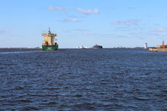 Ship in Gulf of Finland near Kronstadt town Stock Photo