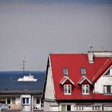 The ship in the Gulf of Gdansk. Royalty Free Stock Photos