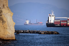 Ship in the Gulf of Naples Stock Photo