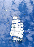 Ship with gulls in sky Stock Image