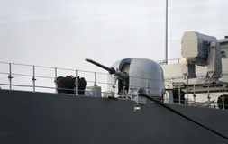 Ship gun and modern, military ship radar. Stock Images