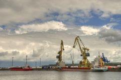 Ship in habor Stock Images