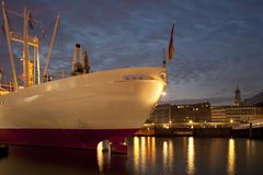 Ship in Hamburg Harbour. At night Stock Photo