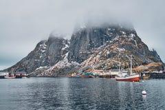 Ship in Hamnoy fishing village on Lofoten Islands, Norway stock photography