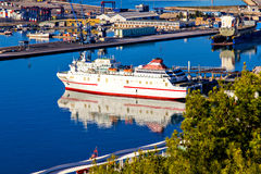 Ship in the harbor of Malaga Royalty Free Stock Images