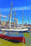 Ship in harbor of South Street Seaport in Lower Manhattan Royalty Free Stock Photos